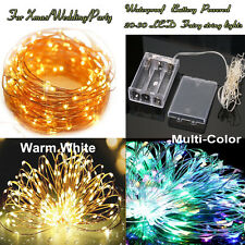 20-200 LED Copper Wire Fairy String Lights Christmas Tree Xmas Party Waterproof Warm White Battery 3m 30led