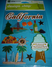NEW 11 pc TRAVEL CALIFORNIA VACATION     DESIGN SHOP MAKING MEMORIES 3D Stickers