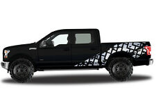 Vinyl Decal Wrap TIRE TRACKS for Ford F-150 15-17 MATTE WHITE SuperCrew 5.5 Bed