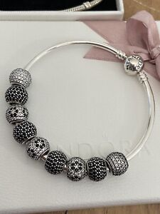 Pandora Bangle With 9 Pave Charms