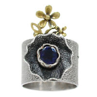 Two Tone - Israeli Design - Iolite  Sterling Silver Ring  s.5.5 RR195854