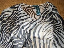 be2ce3df7f Ralph Lauren Plus Top Tunic Sheer Zebra Print With Cami Drawstring Waist 1x