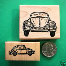 VW Volkswagon Cars Rubber Stamp Set, Two Wood Mounted