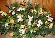 Angel Spring Standing Grave Pillows Cemetery Burial Ground Plaque Silk Flowers