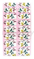NAIL ART STICKER  DECAL DESIGN FOR NAILS 16 WRAPS COLOUR MIXED BUTTERFLY