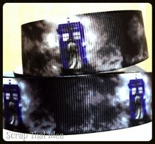 "DR Who & Tardis  RIBBON.  1"" Grosgrain.  Scrapbooking/ Craft/ Bows. Phone Box"