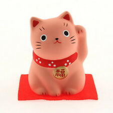 "Japanese 2-1/4""H PEACH Ceramic Maneki Neko Lucky Cat LOVE Figurine Made in Japan"