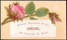 Palmer Bachelder & Co Jewelers Pink Roses Vintage Victorian Trade Card Boston MA