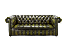 Chesterfield Edwardian 3 Seater Buttoned Seat Antique Olive Green Leather Sofa