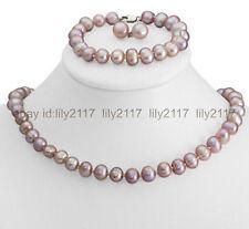 Charming ! 8-9mm Purple  Freshwater Cultured Pearl Necklace Bracelet & Earrings