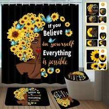 Sunflowers Black Shower Curtain Bath Rugs Toilet Seat Cover Mats Bathroom Sets