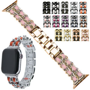 Double Round Links Chain Bracelet Band 38 40 42 44mm for Apple Watch 5 4 3 2 1