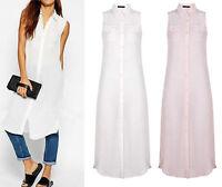 Ladies Maxi Full Long Sleeve Cardigan Sheer Chiffon Slit Side Shirt Dress 8-14