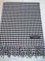 2 PLY Cashmere Scarf 72X12 Black White SM Houndstooth Scotland Plaid Wool Unisex
