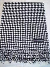 100% Cashmere Scarf 72X12 Black White SM Houndstooth Scotland Plaid Wool Unisex