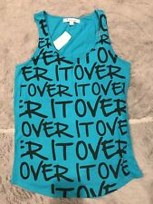 NWT Forever 21 Blue Over It Racerback Tank Top Graphic Size Large L