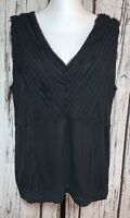 SIGRID OLSEN Womens Black Sleeveless Ruffle Trim V Neck Tank Top Semi Sheer L/XL
