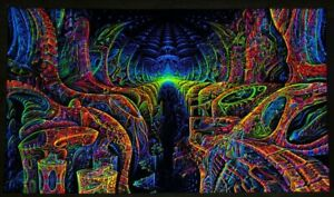 Ultraviolet Neon blacklight glow Trippy Psychedelic Psy Wall hanging UV tapestry