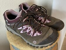 Merrell Performance Brown Purple & Pink Leather Hiking Shoes Womens Sz 11