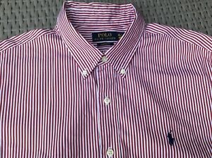 POLO RALPH LAUREN Custom Fit Red Striped L/S Shirt    XL   Excellent condition