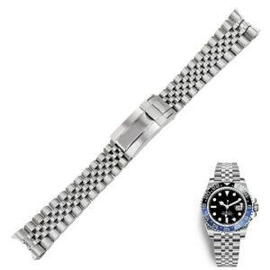 20mm Silver Solid Curved Steel Watch Band Jubilee Oyster Clasp For GMT Master II