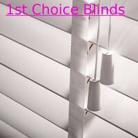 WHITE 50mm Slat Wooden Venetian Blind with Tapes Made to Measure Wood Blinds