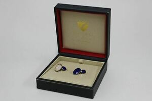 ASPINAL OF LONDON Mens Royal Blue Lapis Stone Sterling Silver Oval Cufflinks