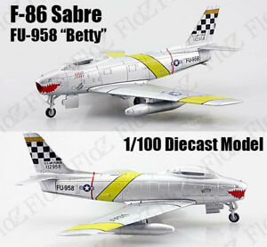 US Air Force F-86 Sabre tiger mouth 1:100 diecast Aircraft plane Atlas Jet Model