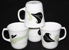 Lot of 4 Corning Corelle Black Orchid Cofee/Tea Cups Mugs ~ MINT ~