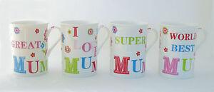 Tassen Set Mum 4-teilig Mutter Mama Muttertag love great super best Kaffee Tee