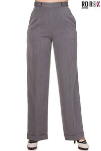 Banned Flared High Waist Trousers Vintage Retro 40's 50's Palazzo Pants Grey