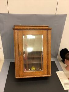 RAREST Antique OAK Medicine Cabinet Mirror Shelves Wall Mount & Key ORIGINAL