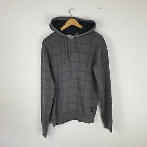 Men's Carhartt Dark Grey Hoodie Vintage Jumper with Wide Check Design Size M