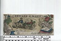 Antique Reward of Merit - Hand Colored Mid 1800s - Boy & Girl with Dog Cart