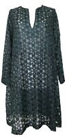 DRIES VAN NOTEN EMERALD GREEN FLORAL PATTERN SEMI-SHEER DRESS, M, $995
