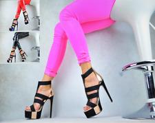 NEU DESIGNER METALLIC Designer Damenschuhe Sandaletten Gladiator Party Pumps