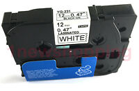 Black on White Label Tape Compatible for Brother TZ TZe 231 Tze231 P-Touch