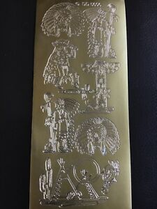 Craftroom Clearance - Gold Peel Off Sheet - Indians