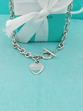 "Genuine Tiffany & Co Silver Heart Tag Toggle Necklace16.25"" VG Condition"