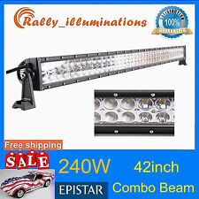 42in 240W LED SPOT/Flood COMBO Offroad Light Bar 4WD SUV Boat Driving Lamp RALLY