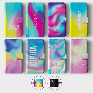 Tirita Personalised Wallet Flip Case for iPhone 12 11 SE 8 Rainbow Swirl Tie Dye