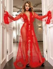 GLAMOROUS FULL LENGTH RED NEGLIGEE / ROBE - SIZE 12/14