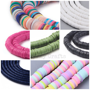 Strand flat round polymer clay disc beads 6mm diameter 1mm wide approx 320 beads