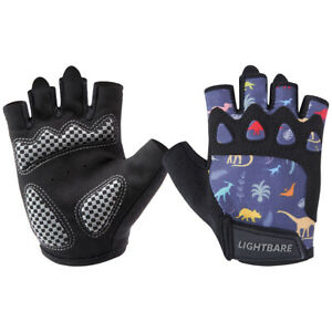 Lightbare UPF50+ Half Finger Gloves with Anti-Slip Padded Palm For Cycling Kids