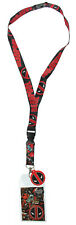 NEW Marvel Deadpool Comic Logo Lanyard w/ Charm and Detachable ID Holder