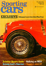 Sporting Cars Feb 1985 Toyota GT 1.6 Twin Cam, Colt Starion, Morgan Plus Four