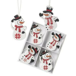 Set of 8 Wooden Snowmen Christmas Tree Decorations Hanging Decorations Ornaments