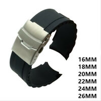 16/18/20/22/24/26mm Watch Strap Watch Band Silicone Rubber Replacement Wrist