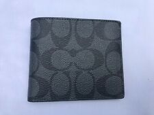 New Authentic Coach F66551 Men's ID Billfold Wallet Black Signature Leather $150