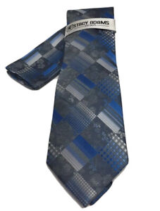 Stacy Adams Men's Tie Hanky Set Charcoal & Royal Blue 100% Microfiber Hand Made
